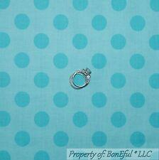 BonEful Fabric Cotton Quilt Aqua Blue Tone Large Baby Boy POLKA DOT L SALE SCRAP