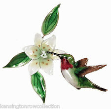WALL ART - HUMMINGBIRD WITH WHITE LILY WALL SCULPTURE - METAL WALL DECOR