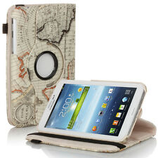 Rotating Map Pattern Leather Case Stand For Samsung Galaxy Tab 3 7.0 P3200 Beige