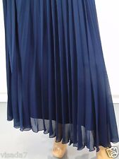 Chiffon Pleated Navy Blue Maxi Skirt Size 8 Retro Double Layer New Look UK Co