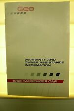 1995 Chevrolet Geo Warranty  Manual  NOS