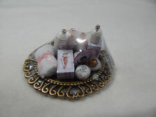 Dollhouse Miniature 1:12 Scale Vanity Tray Lotion Perfume Bottles #Z301 Pink