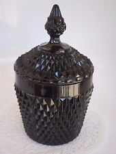 SALE!! BEAUTIFUL VINTAGE BLACK MILK GLASS CANISTER/ HAS DIAMOND SHAPED PATTERN