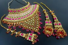 HOT PINK CZ GOLD TONE INDIAN TRADITIONAL CHOKER NECKLACE SET 4 PC BRIDAL JEWELRY
