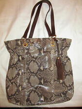 CYNTHIA ROWLEY snake python beige taupe embossed leather large tote shoulder bag