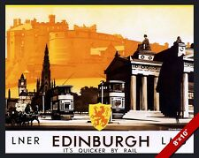 VINTAGE EDINBURGH SCOTLAND UK VACATION TRAVEL AD POSTER ART REAL CANVAS PRINT