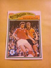 NOTTINGHAM FOREST FOOTBALL CLUB 1978 TOPPS CARD PETER WITHE # 69 GOOD CONDITION