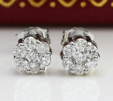 .60CTW Natural VS2 / F-G Diamonds in 14K Solid White Gold Stud Earrings