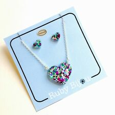 MERMAID DUST NECKLACE - Glitter Resin Heart Jewellery 925 Sterling Silver Set