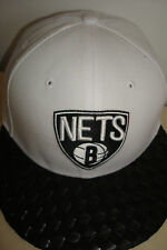 NEW ERA 59 FIFTY RETRO BROOKLYN NETS BASKETBALL CAP HAT WHITE SIZE 6.7.8 S/M
