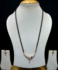 AD Wedding Jewellery Ruby Designer Mangalsutra Chain Black Beads Earrings 316