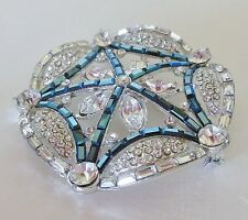 Sparkling Vintage Art Deco Blue and Clear Baquette Round Crystal Brooch Pin