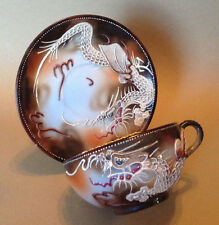Dragon Ware Tea Cup And Saucer - Hand Painted Brown With Raised Moriage - Takito