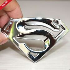 SUPERMAN 3D IN METALLO CROMATO UNIVERSALE AUTO LOGO ADESIVO Badge Emblema Decalcomanie WJ