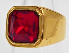 TANK MEN RING SIZE 10 PRINCESS CUT RUBY STAINLESS STEEL GOLD EP ENGAGEMENT BAND