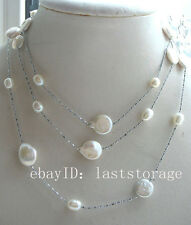 "freshwater pearl white coin egg  necklace 47"" nature white unique"
