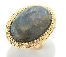 14K Yellow Gold Labradorite Textured Oval Ring Sz9 30 x 20mm