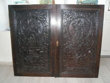 Two old and very large Chinese carved panels 19em century (flowers and dragons)