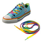 2PC Rainbow Flat Canvas Athletic Shoelace Sport Sneaker Shoe Laces Boots Strings