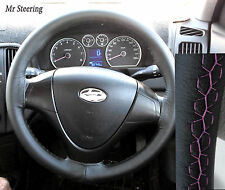 FOR HYUNDAI COUPE 1999-2008 REAL BLACK LEATHER STEERING WHEEL COVER PINK STITCH