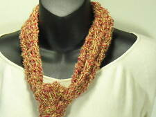 MEO CROCHETED MULTI-BLEND GOLD RED WHITE SKINNY SCARF BELT HEADBAND WRAP KNIT
