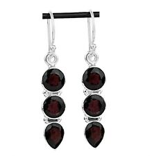 3 STONE RED GARNET 925 STERLING SILVER DROP DANGLE EARRINGS Length 1 1/2""