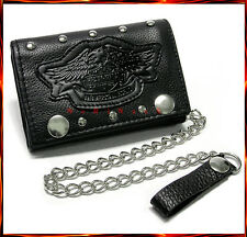 "MOTORCYCLE BIKER LEATHER TRUCKER WALLET WITH CHAIN HEAVY-METAL 4.5""  #119"