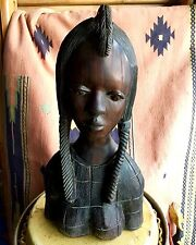 X-LARGE TRIBAL WOOD CARVED SCULPTURE INDIAN LADY BUST STATUE -  NICE!