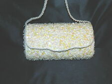 New Purse Bridal Formal Evening White Beaded Shoulder Bag Medium Size Excell.