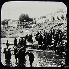 Glass Magic Lantern Slide NATIVES BEGGING FROM STEAMER C1900 EGYPT EGYPTIANS