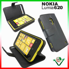 Case NERA eco leather for Nokia lumia 620 stand up booklet booklet soft