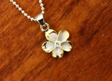 Hawaiian Sterling Silver Gold Plated Rhodium Plumeria Pendant Necklace #SP82825