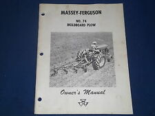 MASSEY FERGUSON NO 74 MOLDBOARD PLOW OWNERS OPERATION LUBE CATALOG BOOK MANUAL