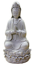 Chinese Oriental Vintage Finish Off White Porcelain Kwan Yin Statue cs2062
