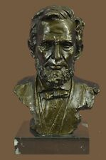 Abraham Lincoln US President Bronze Statue Signed Original Bust Sculpture Gift