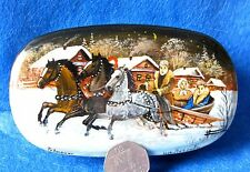 Russian hand pained LACQUER Box WINTER TROIKA HORSES Fedoskino style PETROVA ART
