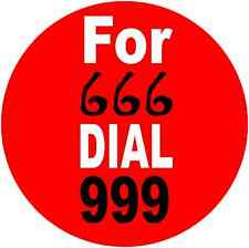 For 666 Dial 999 Novelty Devil Halloween Humorous Funny 25mm Button Pin Badges