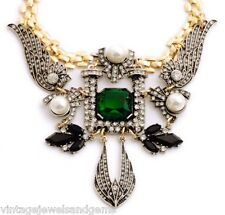 GREEN BLACK WHITE PEARL BEADED Gold Silver Chunky Choker Bib Statement Necklace