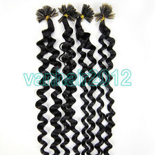 """New 20""""Pre Bonded Nail U Tip Keratin Fusion Remy Human Hair Extension 100s Curly"""