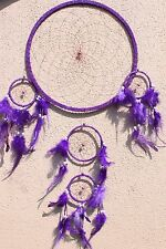New Large Purple Dream Catcher Handmade With Leather & Feather Car Wall Decor