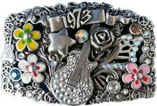 Swarovski Crystal Rock n Roll Belt Buckle Hand Pollished Antique Silver Plaited