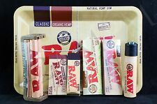AUTHENTIC RAW ROLLING PAPER COMBO M-TRAY+PAPERS+TIPS+ROLLING MACHINE+LIGHTER