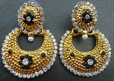 White Black Stone & Pearl Stud Antique Gold Plated Ring Jhumki / Polki Earring