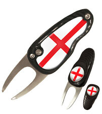 New England Deluxe Pebble Divot Tool / Pitchmark Repairer with Ball Marker
