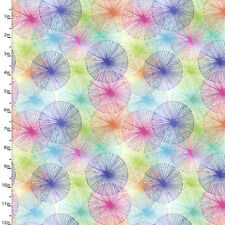 Fabric Spirograph Rainbow on White Cotton by the 1/4 yard BIN