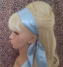 PALE BLUE SATIN HAIR SCARF HEAD BAND SELF TIE BOW 50s 40s GLAMOUR VINTAGE STYLE