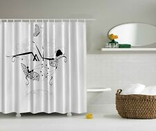 Lady In a Tub Digital Print Shower Curtain Black & White Floral Butterfly Decor
