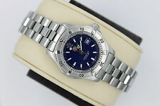 Tag Heuer 2000 WK1313 BLUE Classic Professional SS Watch Womens $1595 Mint Glass