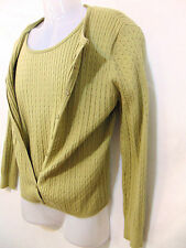 PECK & PECK Womens 2 Pc. Cable Knit Cardigan/Vest Large Sage Green Silk/Cashmere