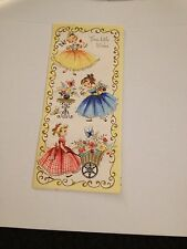 Vintage Greeting Card Birthday Girls In Dresses Dress Table Flowers